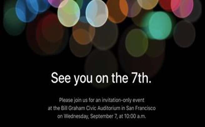 Apple iPhone 7 Release date September 7 invitation